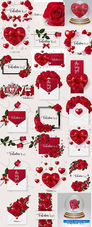 Романтические фоны с розами - 3 - Векторный клипарт / Romantic backgrounds with roses - 3 - Vector Graphics