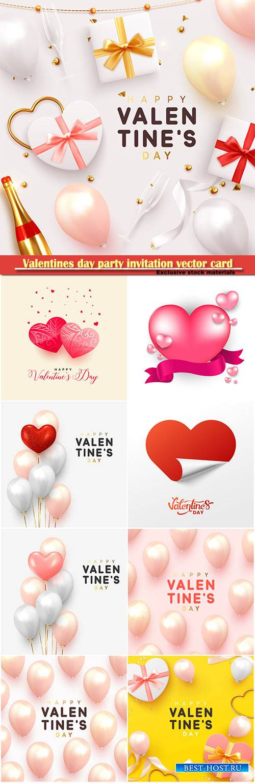 Valentines day party invitation vector card # 32