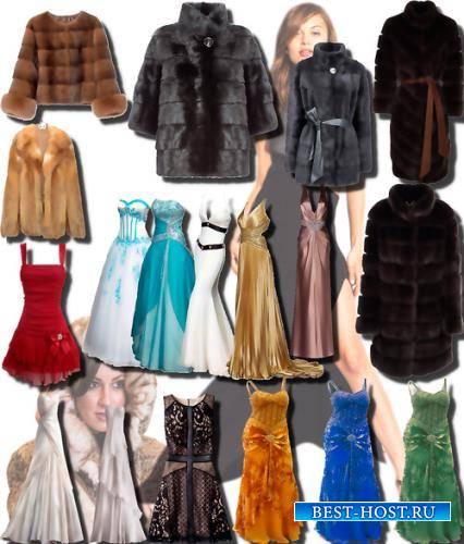 Клипарты на прозрачном фоне - Женские платья и шубы