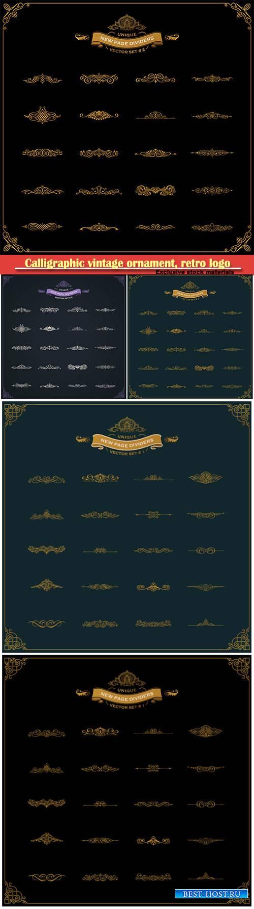 Calligraphic vintage ornament, retro logo and vector decorative border line