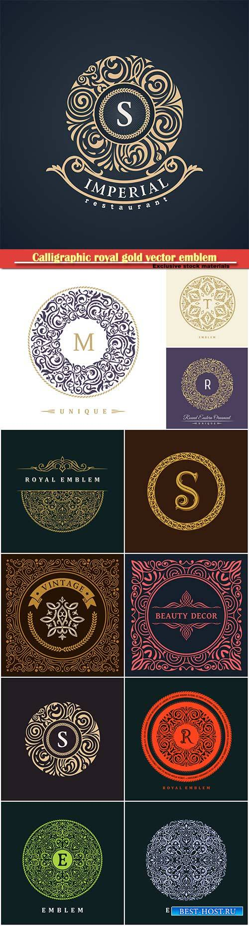 Calligraphic royal gold vector emblem, logo design template, label