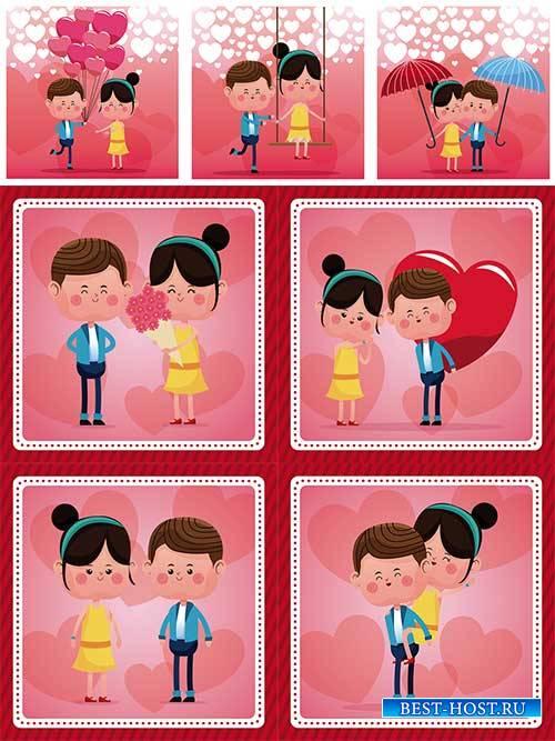 Влюблённая пара - Векторный клипарт  / Couple in love - Vector Graphics