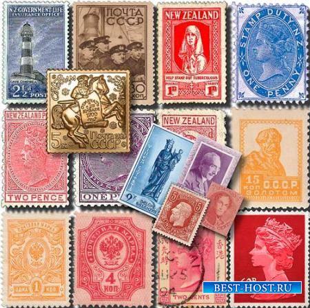 Прозрачные клипарты для фотошопа - Почтовые марки