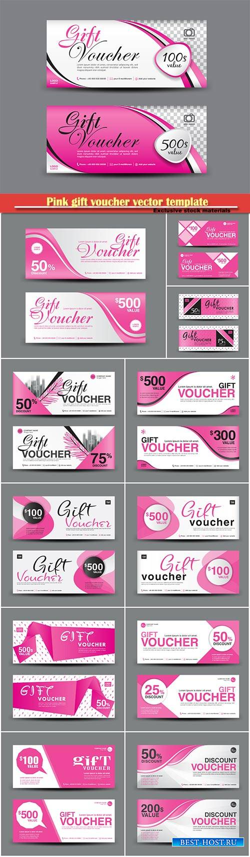 Pink gift voucher vector template, coupon design, certificate, Valentine's ...