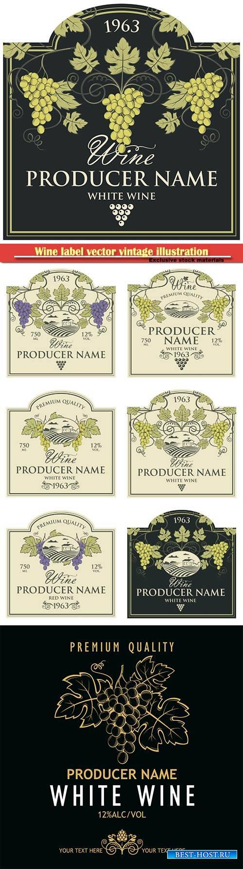 Wine label vector vintage illustration