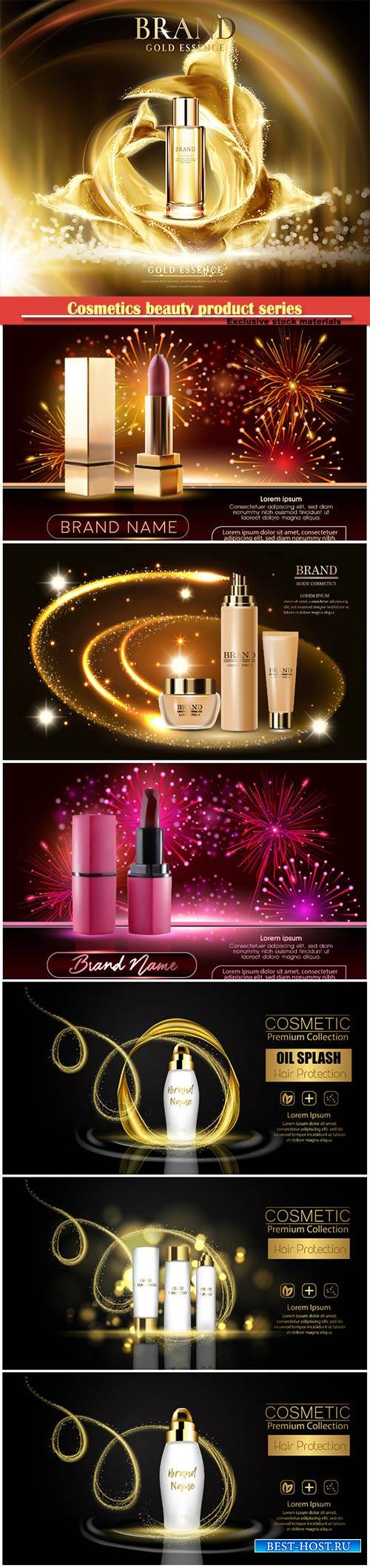 Cosmetics beauty product series, presentation banners mockup, vector illust ...