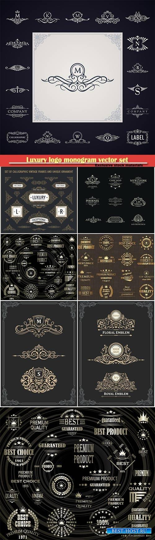 Luxury logo monogram vector set, calligraphic design elements