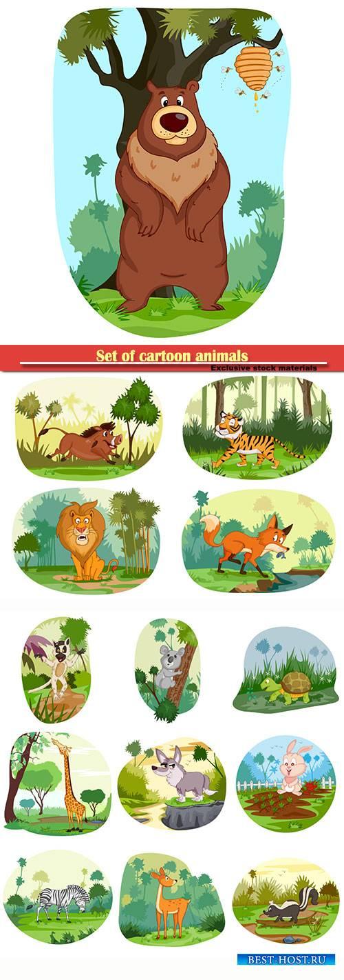 Set of cartoon animals on a white background