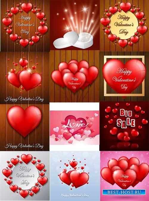 Романтические фоны с сердцами - 9 - Векторный клипарт / Romantic heart backgrounds - 9 - Vector Graphics