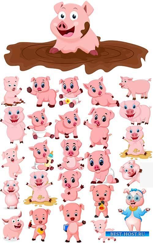 Забавная свинка - Векторный клипарт / Funny pig - Vector Graphics