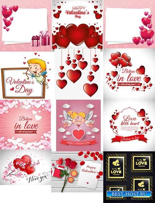 Романтические фоны с сердцами - 10 - Векторный клипарт / Romantic heart backgrounds - 10 - Vector Graphics