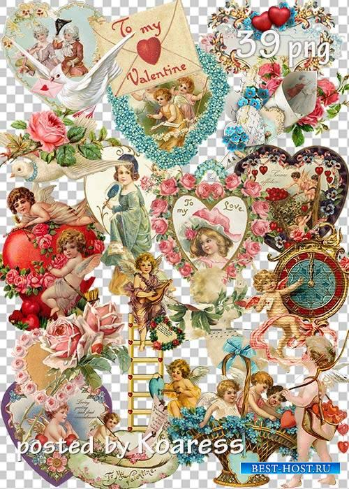 Винтажный клипарт png к Дню Святого Валентина - Set of vintage png clipart for Valentine