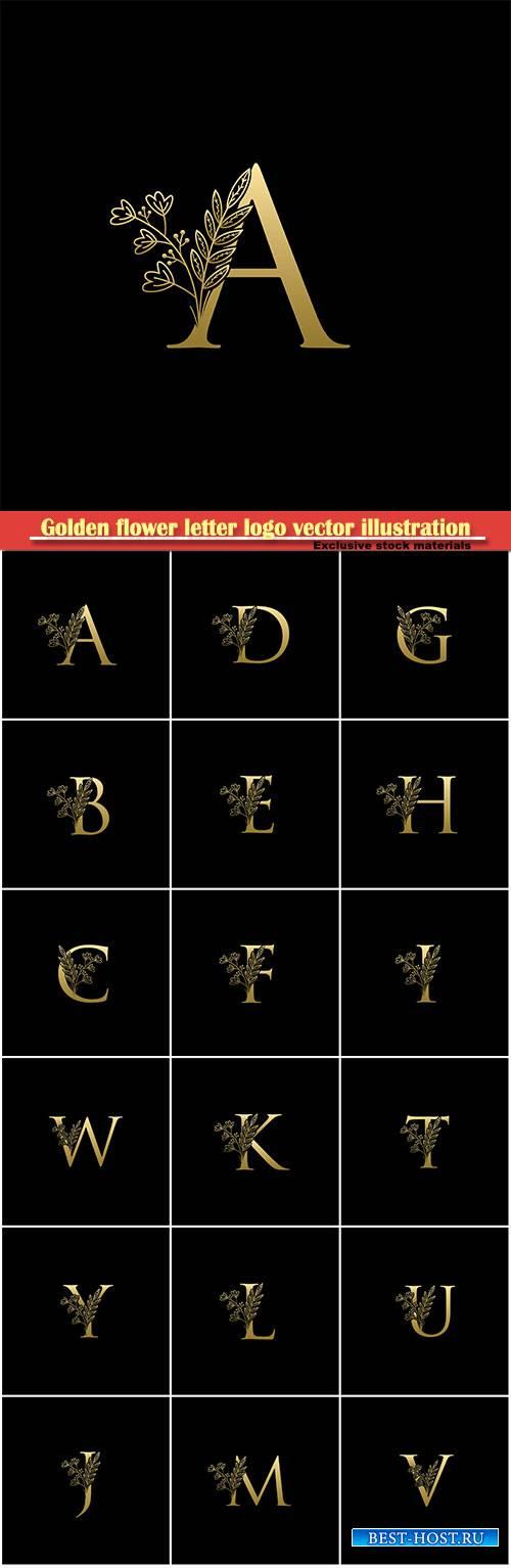 Golden flower letter logo vector illustration