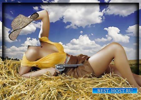 Фотошаблон для девушки - Девушка ковбой
