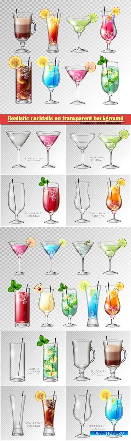 Realistic cocktails on transparent background vector illustration