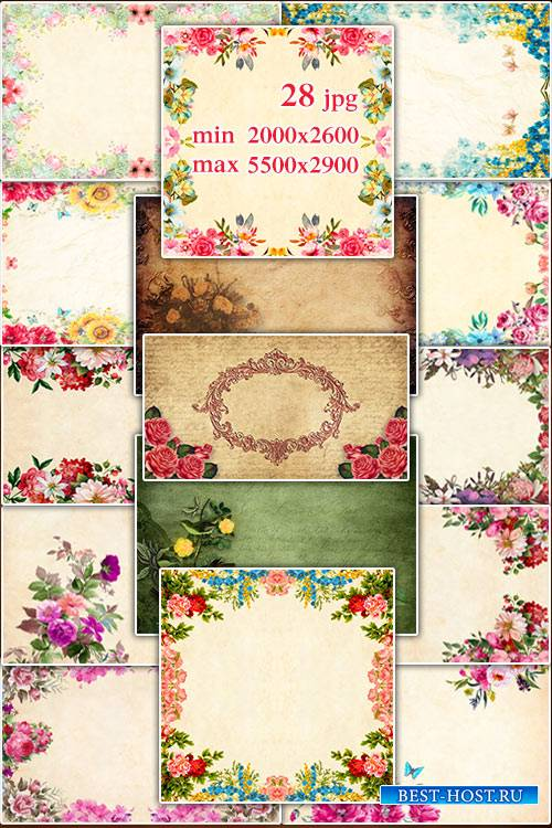 Vintage backgrounds with flowers - Подборка винтажных фонов с цветами