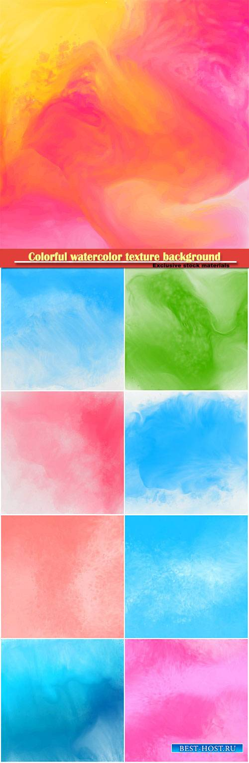 Colorful watercolor texture background vector design
