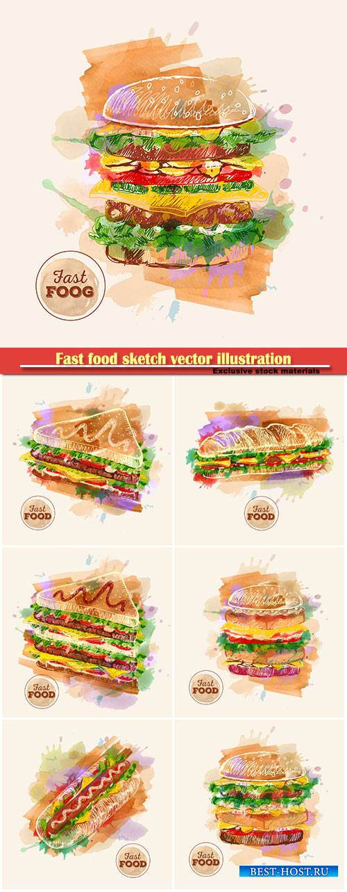 Fast food sketch vector illustration, watercolor hamburger or sandwich
