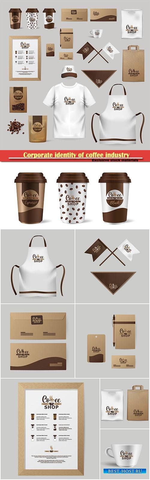 Corporate identity of coffee industry, realistic branding mock up template  ...