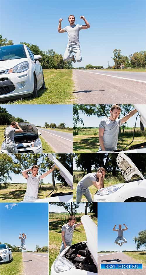 Парень с автомобилем - Растровый клипарт / The guy with the car - Raster cl ...