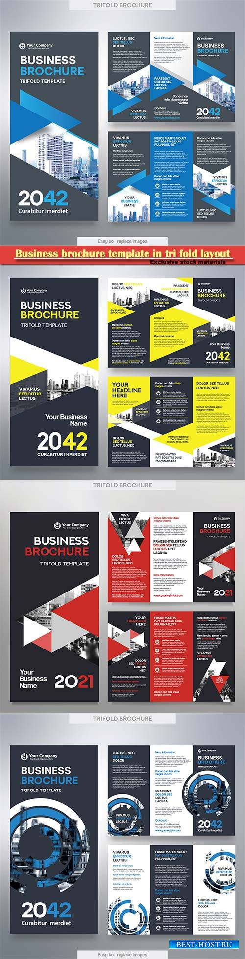 Business brochure template in tri fold layout, corporate design leaflet wit ...