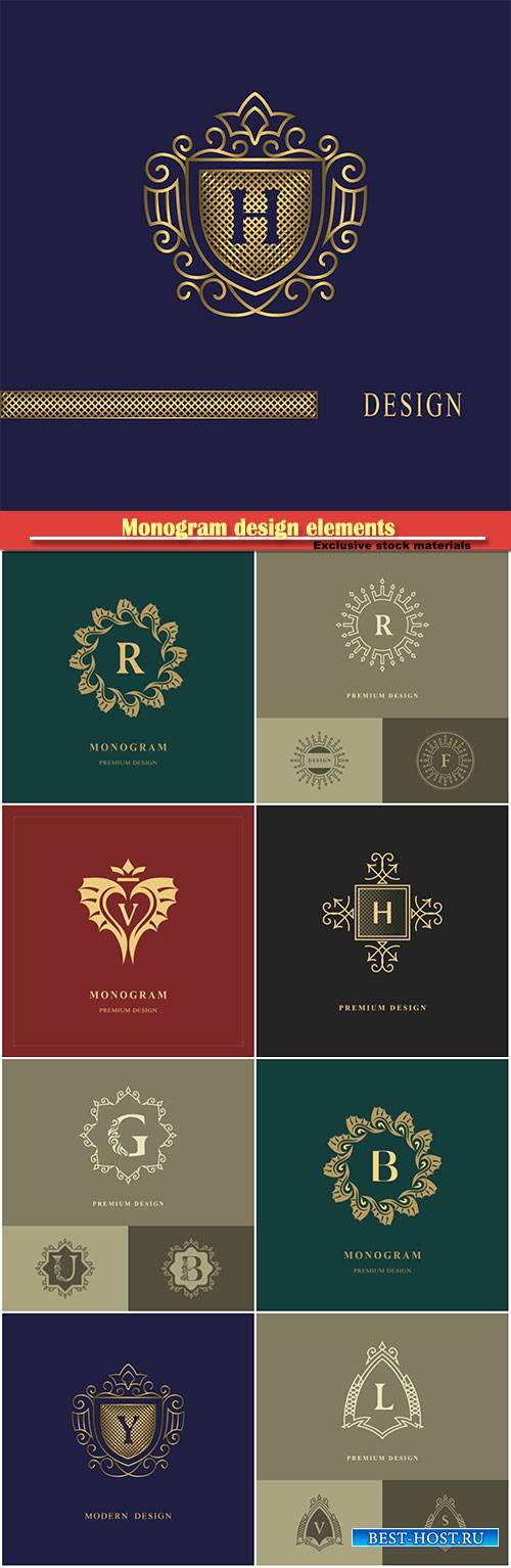 Monogram design elements, template calligraphic elegant line art logo desig ...