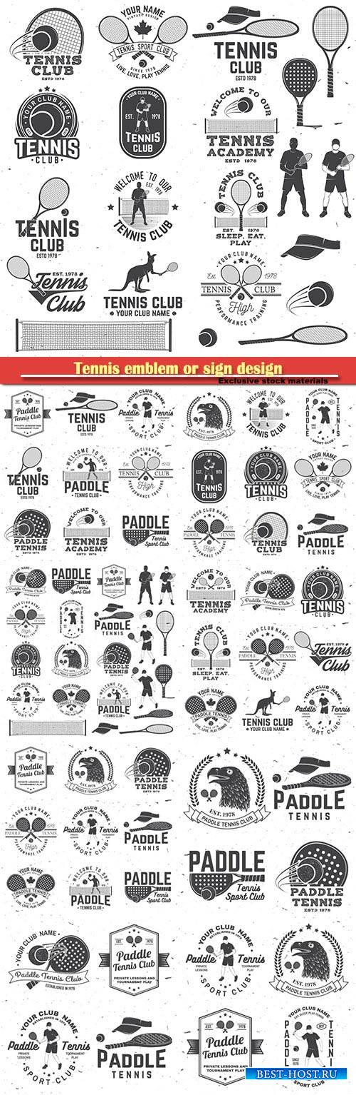 Tennis emblem or sign design with paddle tennis racket, visor and paddle ba ...