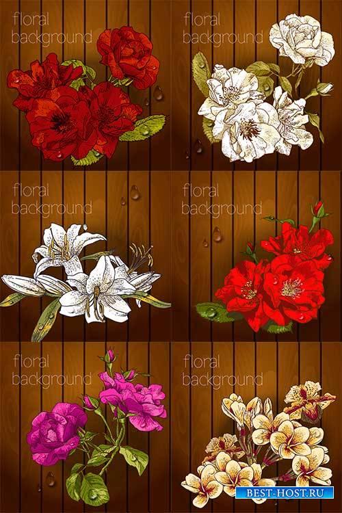 Фоны с цветами - Векторный клипарт / Backgrounds with flowers - Vector Grap ...