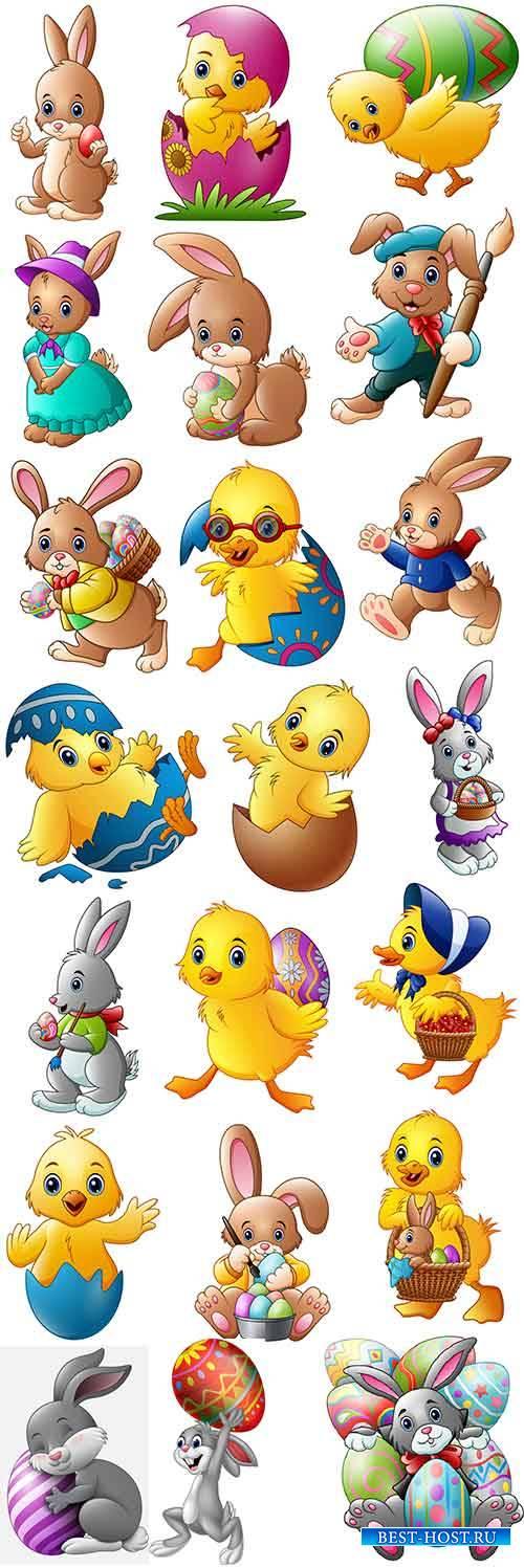 Звери с пасхальными яйцами - Векторный клипарт / Beasts with easter eggs -  ...