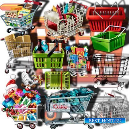 Png клипарты - Магазинные тележки и корзинки