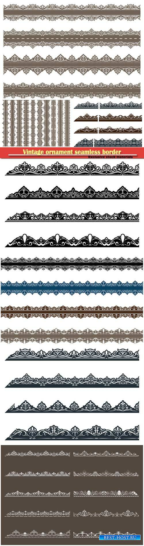 Vintage ornament seamless border in vector illustration