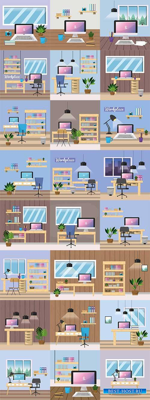 Офис - Векторный клипарт / Office - Vector Graphics