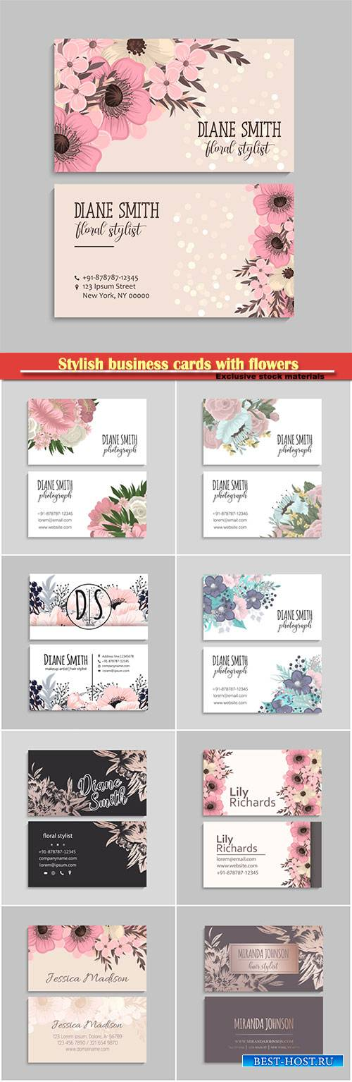 Stylish business cards with flowers in vector illustration
