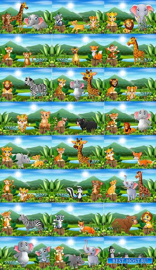 Зверюшки на природе- Детский векторный клипарт / Little animals in nature- Children vector clipart