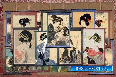 Клипарт Японские гравюры - женские портреты на свитках