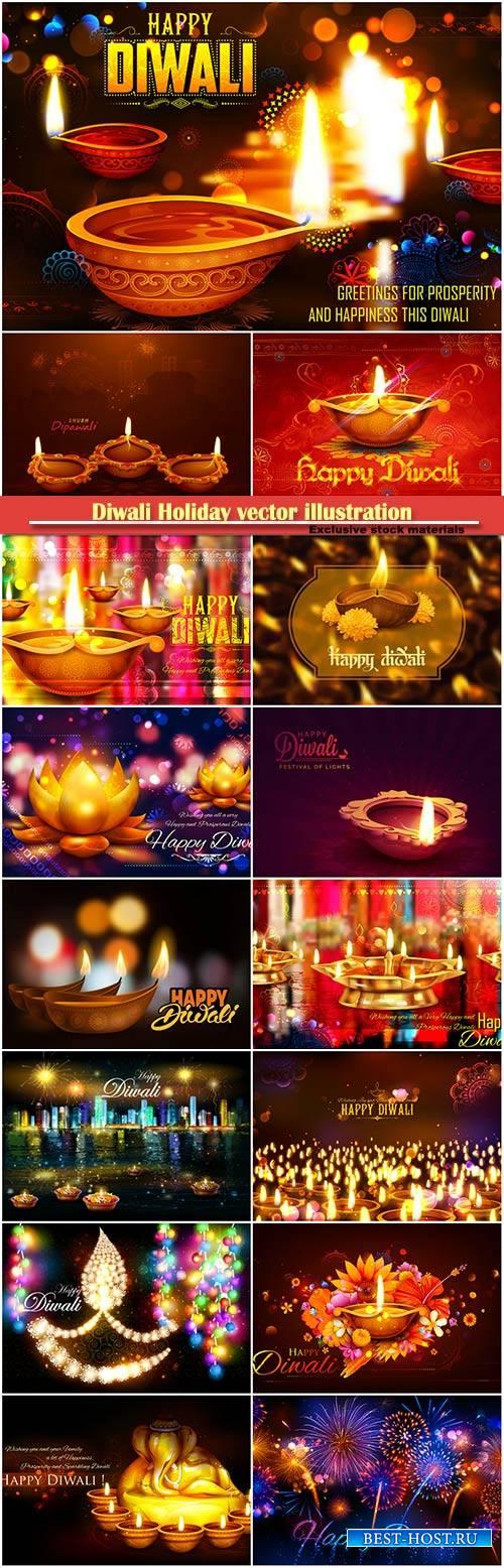 Diwali Holiday vector illustration with burning diya