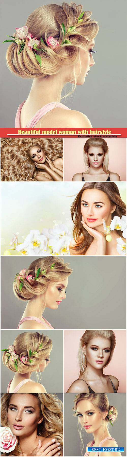 Beautiful model woman with hairstyle and perfect make-up