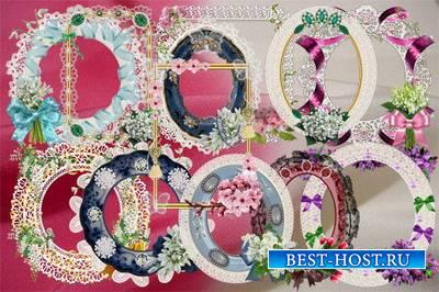 Клипарт Кружевные рамки с весенними цветами