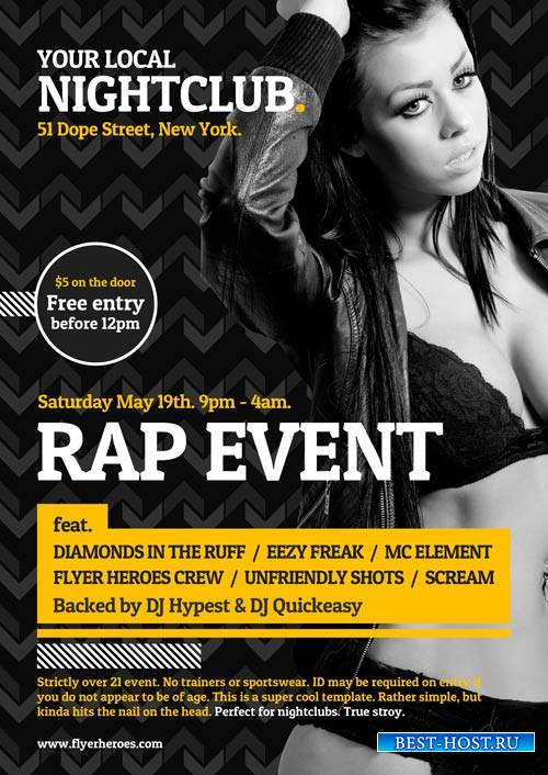 Typographic Night Club psd flyer template