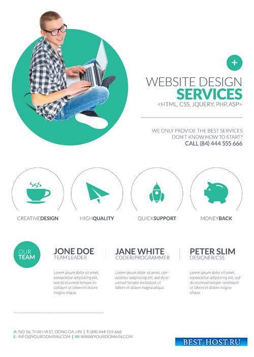 Minimal Web Design psd flyer template
