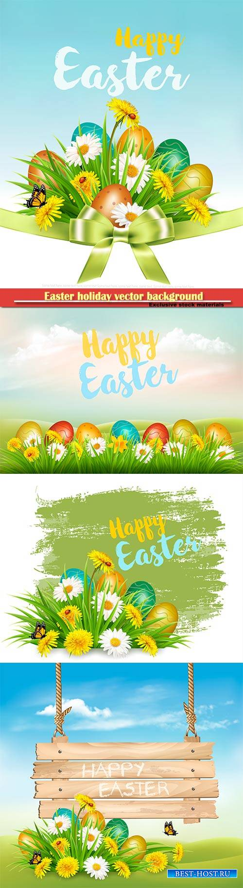 Easter holiday vector background with colofrul eggs in green grass