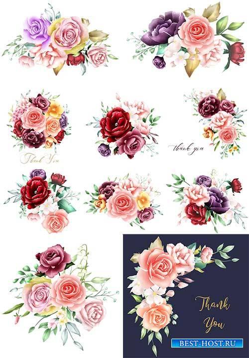 Красивые цветы - Векторный клипарт / Beautiful flowers - Vector Graphics