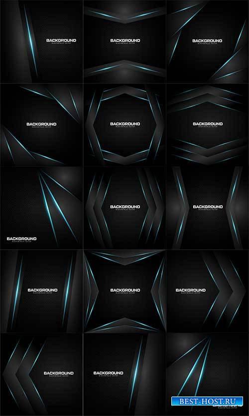 Чёрные абстрактные фоны - Векторный клипарт / Black abstract backgrounds -  ...