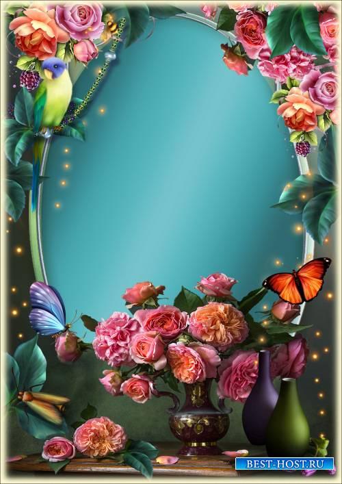 Рамка для Фотошопа - Натюрморт с розами
