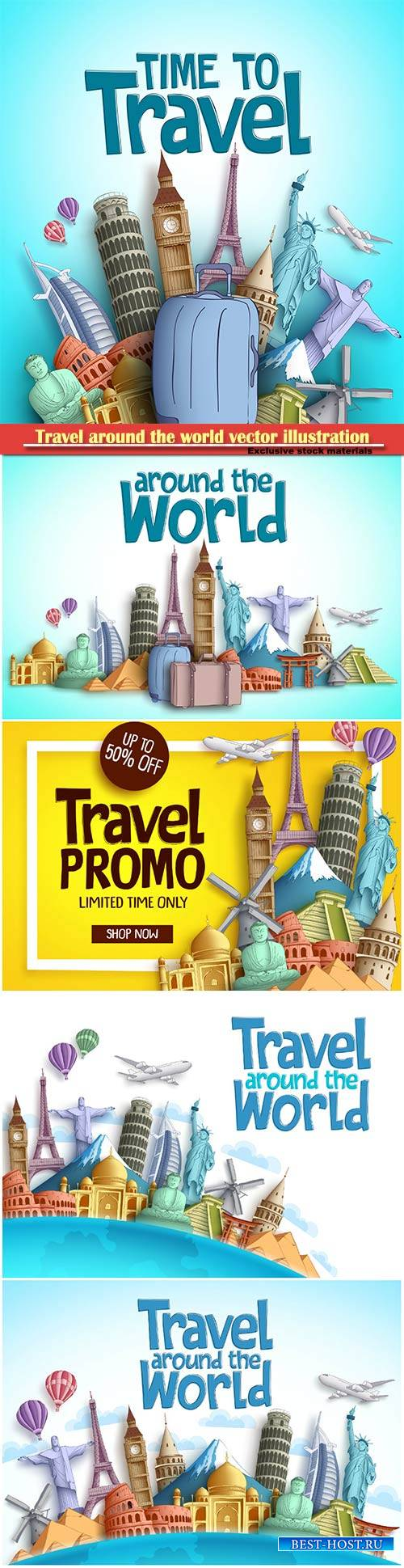 Travel around the world vector illustration