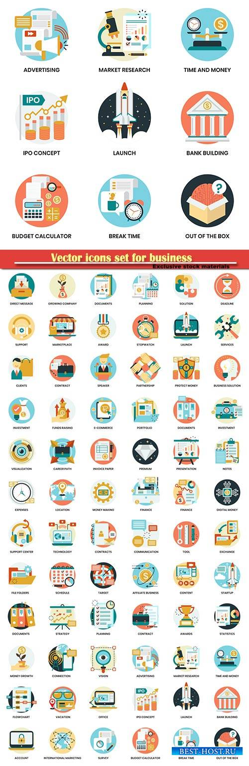 Vector icons set for business, marketing
