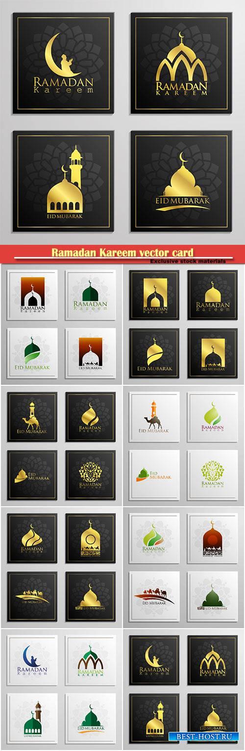 Ramadan Kareem vector card, islamic background