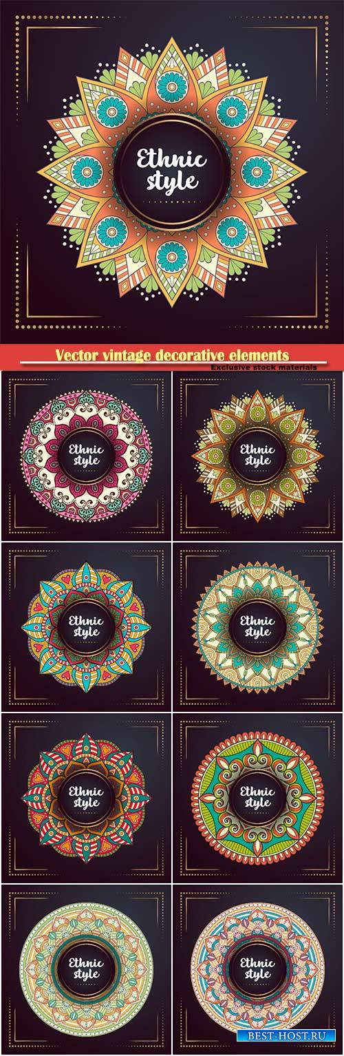Vector vintage decorative elements with mandala