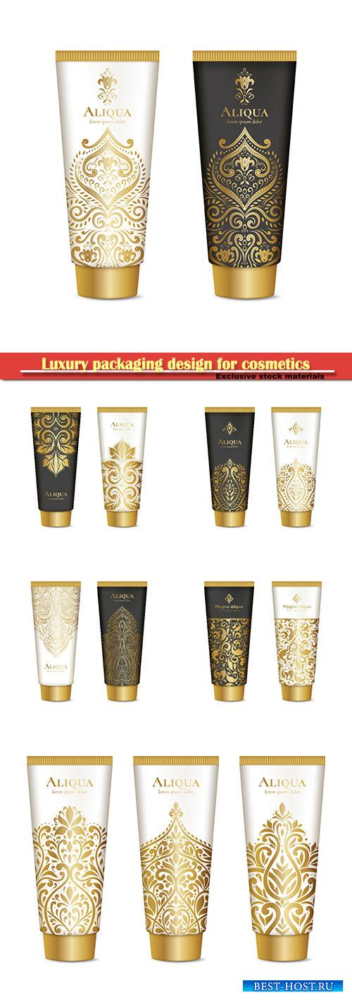 Luxury golden packaging design for cosmetics, gold vector ornament
