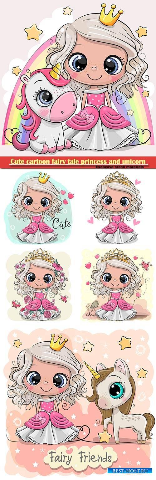 Cute cartoon fairy tale princess and unicorn